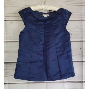 Alice + Olivia navy silk cap sleeve blouse medium
